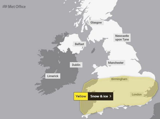 A yellow weather warning has been issued (C) The Met Office