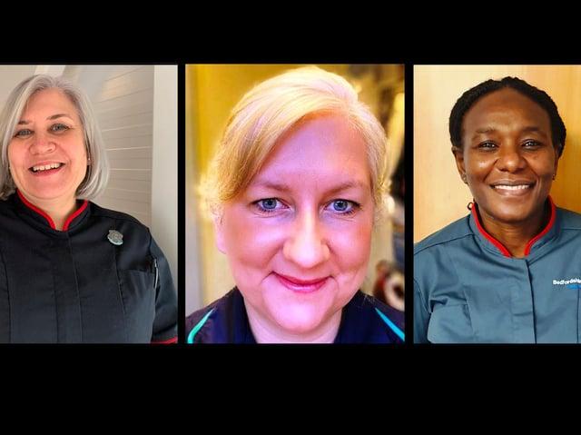 Emma Hardwick (left), Tara Pauley (middle) and Ilene Machiva (right) will lead maternity services at Bedfordshire Hospitals NHS FoundationTrust