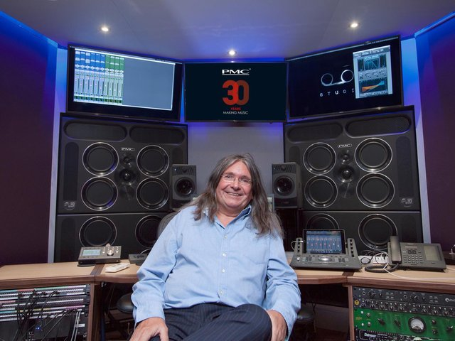 Peter with PMC's  QB1 XBD -  its latest studio speaker -  at Tape London. In the 30 years, PMC's workforce has gone from two to 60 around the world, including in LA.