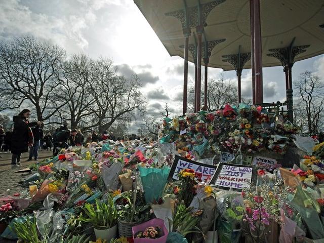 Floral tributes for Sarah Everard at Clapham Common