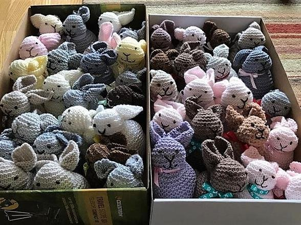 Knitted bunnies made by Sandy Centre Group members which have been hidden around the town centre as part of the young children's trails.