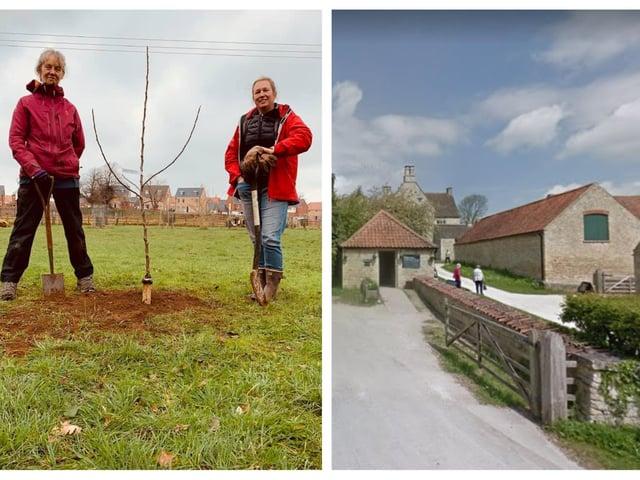 The planting of the Newton Apple Sapling. Photo: Cllr Wye. Right: Woolsthorpe Manor. Photo: Google.
