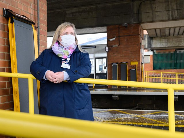 Liz Mead, accessibility champion at nearby Stevenage station.