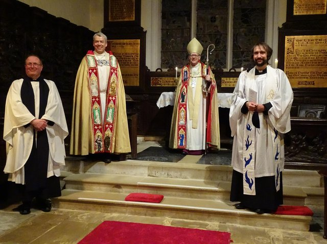 L to R: The Rev Graham Buckle, Rural Dean; The Archdeacon of Bedford, the Venerable Dave Middlebrook; the Lord Bishop of St Albans, The Rt Rev Dr Alan Smith; The Rev Alex Wheatley, Rector of Potton, Sutton and Cockayne Hatley Benefice.
