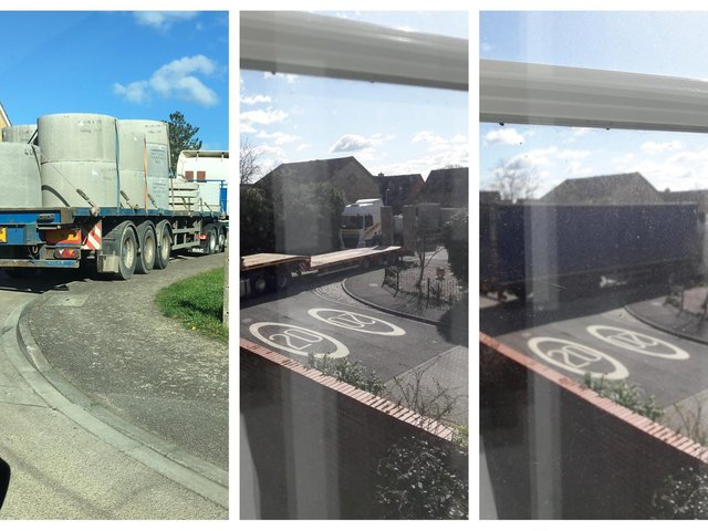 A resident sent in photos of HGVs at the entrance of the site