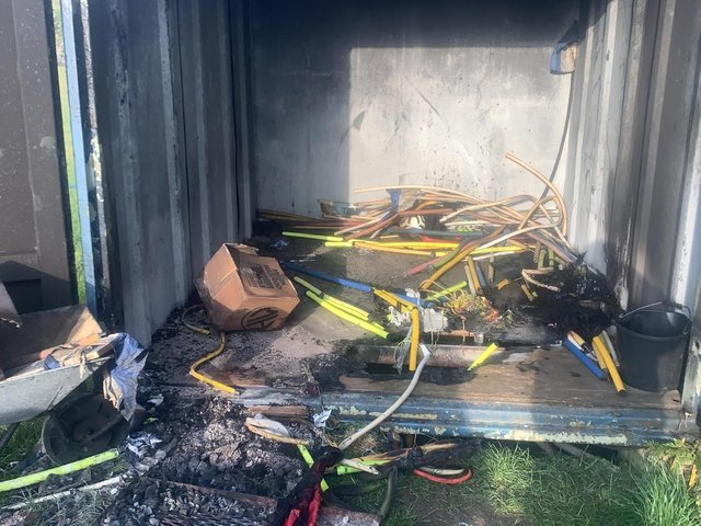 The burnt container and equipment. Photo: Shefford Saints.