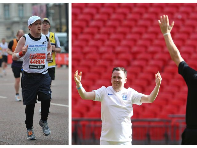 Luke believes that exercise can really benefit your mental health. He is pictured running the London Marathon for Ovacome, an ovarian cancer charity (left) and at Wembley Stadium after a competition win.