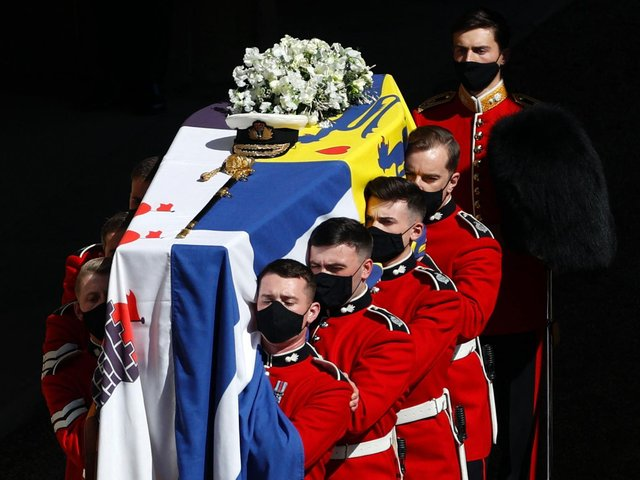 George Whyte was chosen alongside seven fellow grenadiers to perform the role of coffin bearer. Photo: Getty Images