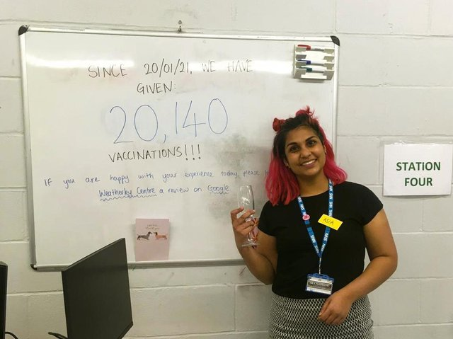 Pharmacist Asia Patel celebrates the new milestone at the Weatherley Centre