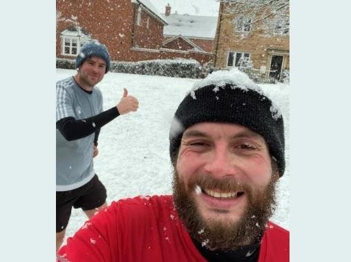 Etonbury Academy Head of PE Matt Pullinger, left, and Matt Guest, of Kempston Challenger Academy, have been training in all weathers for their seven marathons in seven days fundraising challenge later this year