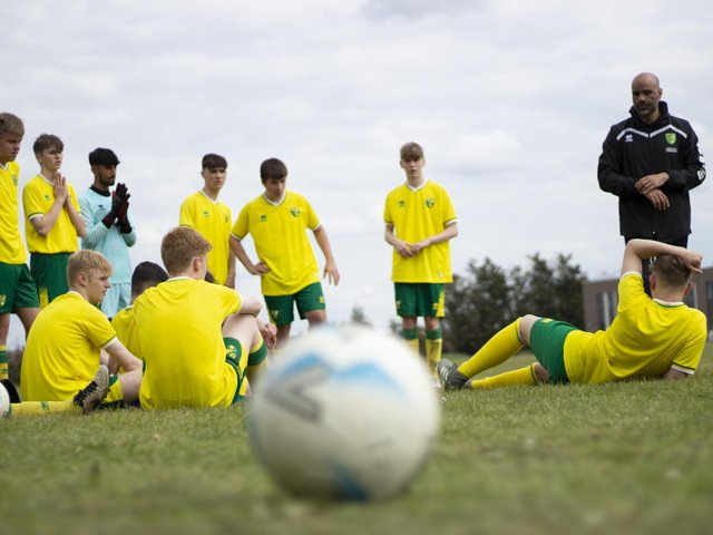 Students at Stratton Upper School got to don the famous yellow and green of Norwich City FC