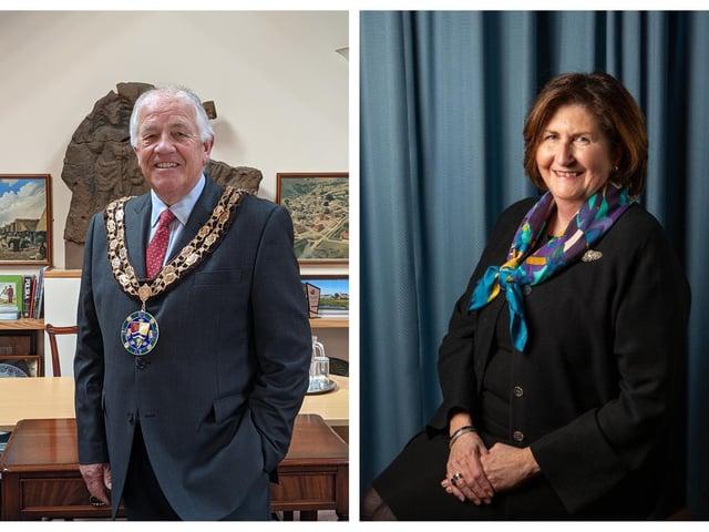 Mayor Councillor Martin Pettitt and Deputy Mayor Councillor Joanna Hewitt. Photos: Sandy Town Council.