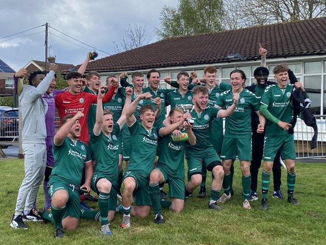 Biggleswade FC Reserves celebrate their cup victory