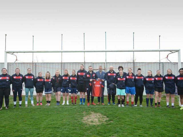 Guillem Balague pictured with the Biggleswade United ladies team