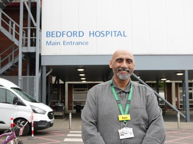 Ravi Mahay outside Bedford Hospital