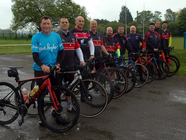 Some of the Biggy RUFC cyclists pictured before a training ride