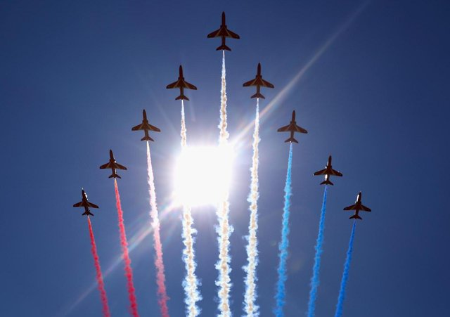 The Red Arrows will fly over Shuttleworth on Sunday (Pic: Getty)
