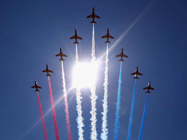 The Red Arrows will carry out a flypast as part of the Flying Festival of Britain Drive-In Air Show at Shuttleworth