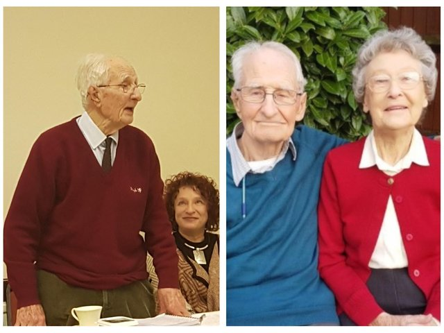 Left: Vic at The Labour Hall, Biggleswade, in 2018 with Fiona Factor, Biggleswade Labour branch secretary. Photo: Julian Vaughan.  Right: Vic and wife, Doris. Photo: JPIMedia Archives, 2018.
