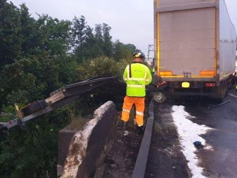 The damaged parapet of the bridge on the M1 today