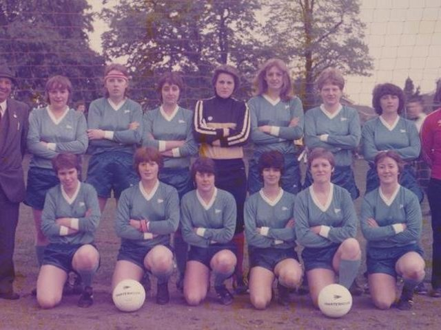Heather Rennie (back row, second from left) and Tracey James (front row, far right) were part of the successful Biggleswade United women's team in the 1980s and are now doing their bit to help the current ladies teams at the club as fixtures secretary and club secretary respectively