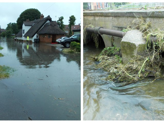 Pix Brook flooded on June 18. Photo: Stotfold Town Council.